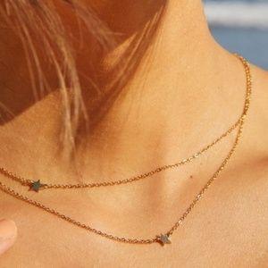 Jennifer Zeuner Star Double Necklace Yellow Gold